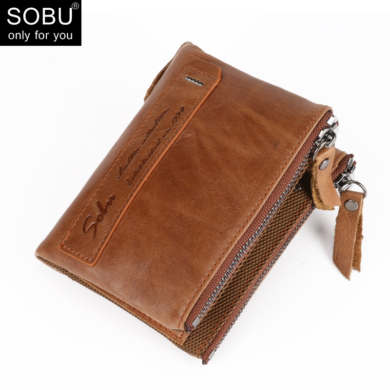 Genuine Crazy Horse Cowhide Leather Men Wallet Credit Business Card Holders Double Zipper Cowhide Leather Wallet Purse L001 швабра topoto l001