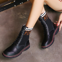 cunge hiking shoes Women Boots Platforms Heel Ankle Boots Paint Leather Motorcycle Lady Shoes Lace Up Martin boots High Boots