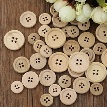 New Arrival 50 Pcs Mixed Wooden Buttons Natural Color Round 4-Holes Sewing Scrapbooking DIY