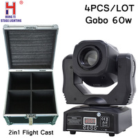 Gobos 60W flight case with 4in1 moving head 7 colors +7 gobos LED dj spot light 4pcs/lot