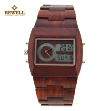 BEWELL Wood Watch Men Fashion Casual Multifunctional Electronics Mens Watches Wristwatch LED Digital Watch Clock Homme With Box