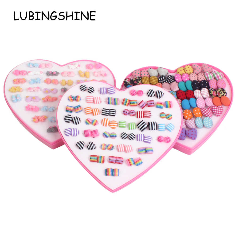 36 Pairs/lot Cute Women Star Flower Resin Pink Small Stud Earrings Sets With Heart Gift Box Child Girls Kids Earring Jewelry