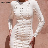 DEIVE TEGER Autumn Winter New Arrival Solid Color Lace Up O Neck BOdycon Mini Party Club