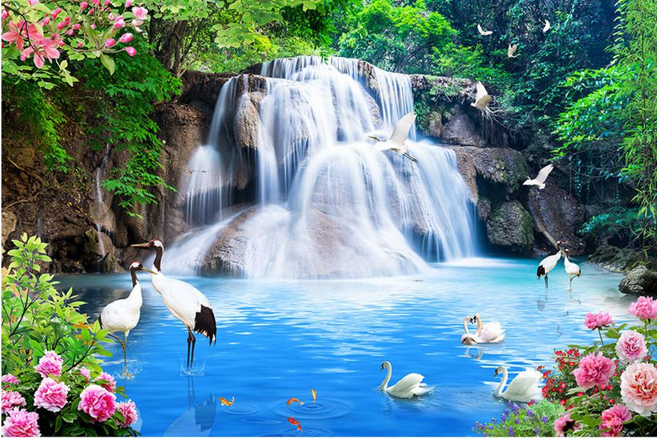 Customize 3d Luxury Wallpaper Waterfalls Water Landscape