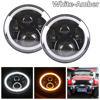 2pcs Black Angel Eyes 7inch LED Headlights Kit For 2004 2006 Jeep Wrangler LJ Unlimited 1997