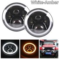 2pcs Black Angel Eyes 7inch LED Headlights Kit For 2004 2006 Jeep Wrangler LJ Unlimited 1997
