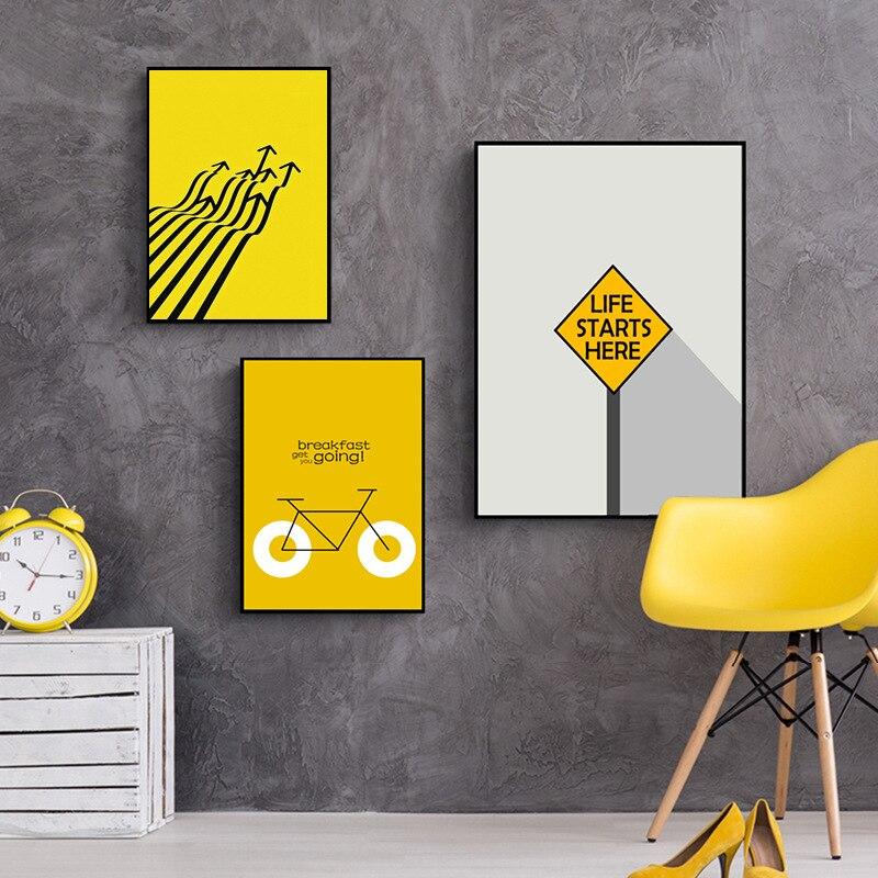 HAOCHU Modern Abstract Black White Yellow Colors City Road Sidewalk ...