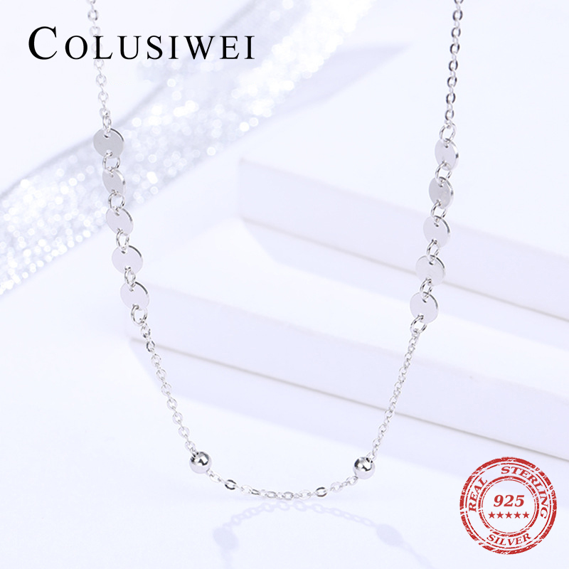 Colusiwei New Design Trendy Simple Bead Chain Necklace For Women 925 Sterling Silver Short Chain Necklace HandMade Fine Jewelry