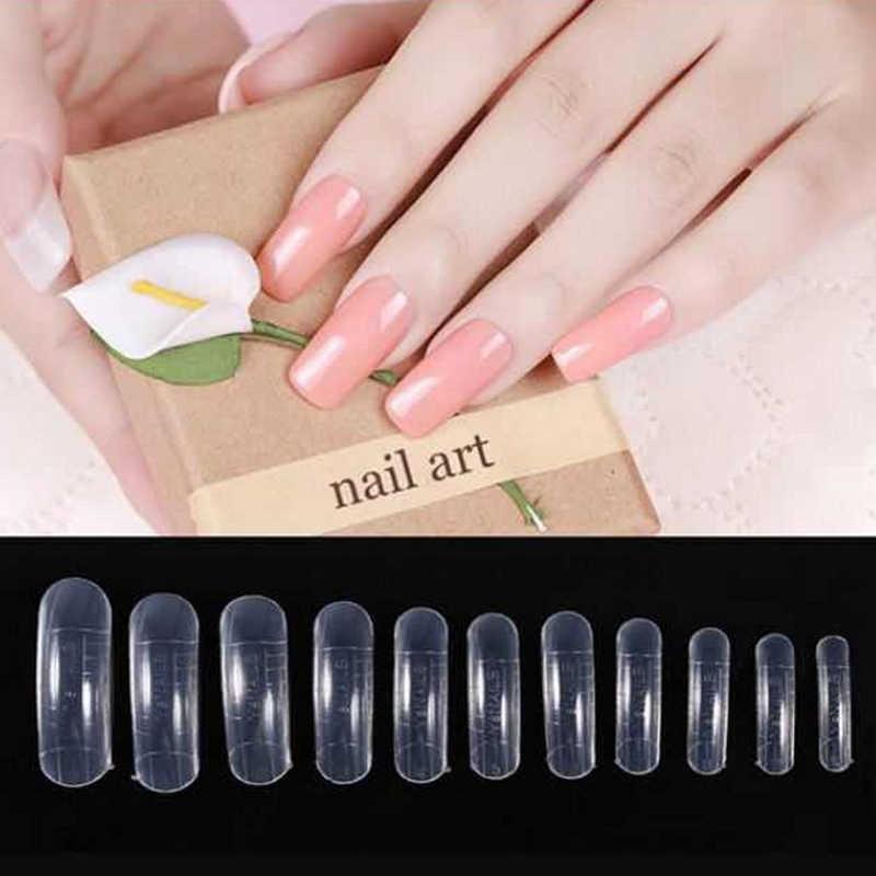 Bentuk Kuku Dual Bentuk dengan Garis Kuku Manikur Perancis Dapat Digunakan Kembali Acrylic Nail Kit 120 Pcs/set 12 Ukuran
