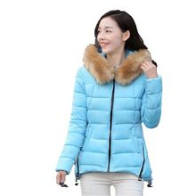 Winter 2016 Latest Fashion Down jacket Women Coat Loose Big yards Leisure Thicken Hooded fur Collar Short Cotton Coat G1128