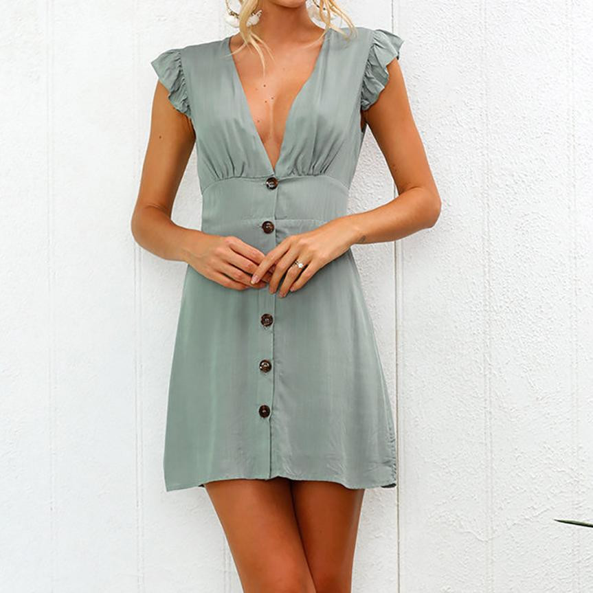 d4f14e16250 Womens Summer Dress Sexy V Neck Buttons Front Solid Party Dress Ruffles  Sleeve Beach Dresses Robe Sexy #L