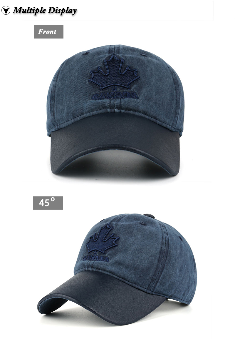 Embroidered Canadian Leaf Dad Hat - Front and Front Angle Views