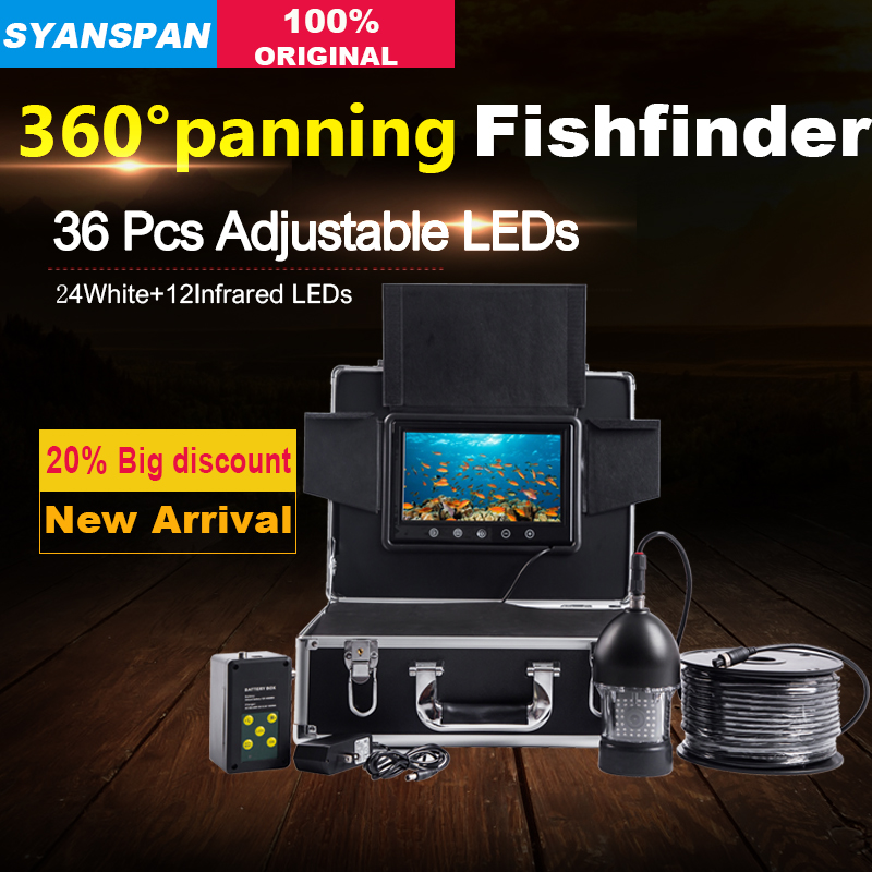 SYANSPAN Rotate by 360 Degree 50M Fish Finder 9 Touch Screen Monitor Fishfinder Video Camera HD Underwater Ice Fishing 36 LEDs gamwater 7 tft monitor 50m cable 360 degree rotate underwater camera underwater fishing camera color fish monitor fish finder