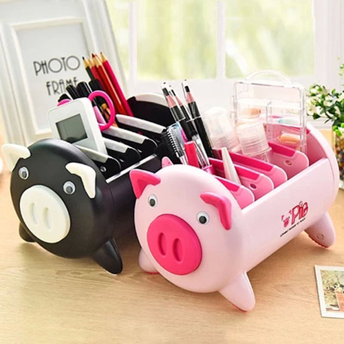 цены Cute Black pink pig Storage Boxes Desktop phone remote control Organizer storage box Jewelry Storage boxes Makeup