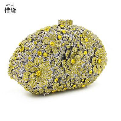 XIYUAN BRAND New Women's pillow Clutch purses Exquisite Diamond Evening Bag gold Rhinestone Wedding Bridal Handbag wallets gifts