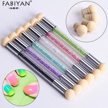 Set With 4 Replace Sponge Heads Nail Art Gradient Brush Pen Painting Dotting Double End Tips DIY Rhinestone Handle Manicure Tool(China)