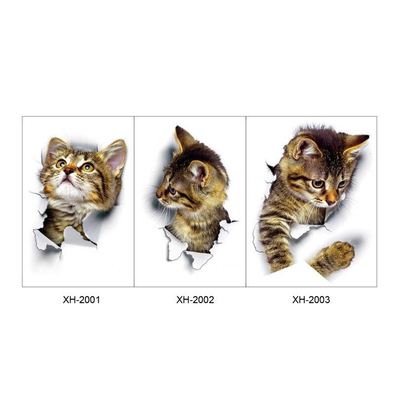 """1 шт. 3D милые наклейки """"сделай сам"""" с котом, наклейки на стену для всей семьи, украшения для окна, комнаты, ванной комнаты, унитаза, декоративные кухонные аксессуары"""