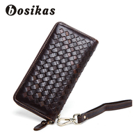 BOSIKAS Men Wallet Genuine Leather Knitting Wallet Long Wallet clamp for money Coin Purse Plaited Day Clutches Men's Phone Bags