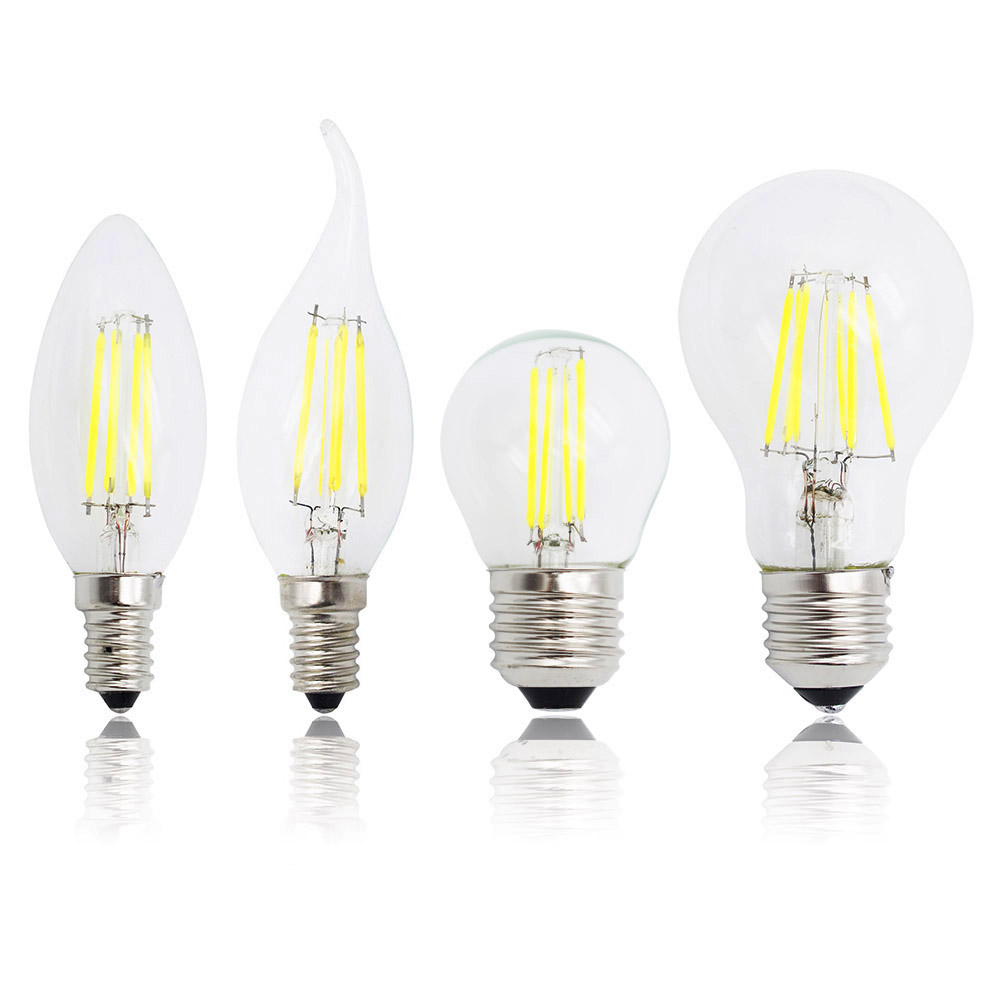 2W 4W 6W 8W E27 Retro Edison Glass 220V Lamp E14 LED Filament Dimmable Bulb Replace Halogen Candle Light Chandeliers