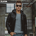 Men's real leather jacket pigskin motorcycle Hooded removable hat double closure Genuine Leather jackets