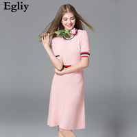 Egliy Brand Elegant Classic Knitting Dress 2017 New Summer Women Patchwork O Neck A Line Slim