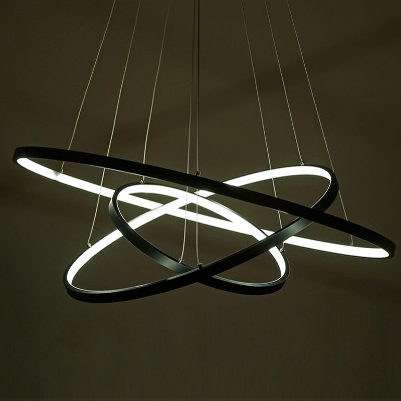 NEO Gleam Modern pendant lights for living room dining room 3/2/1 Circle Rings acrylic aluminum body LED Pendant Lamp fixtures