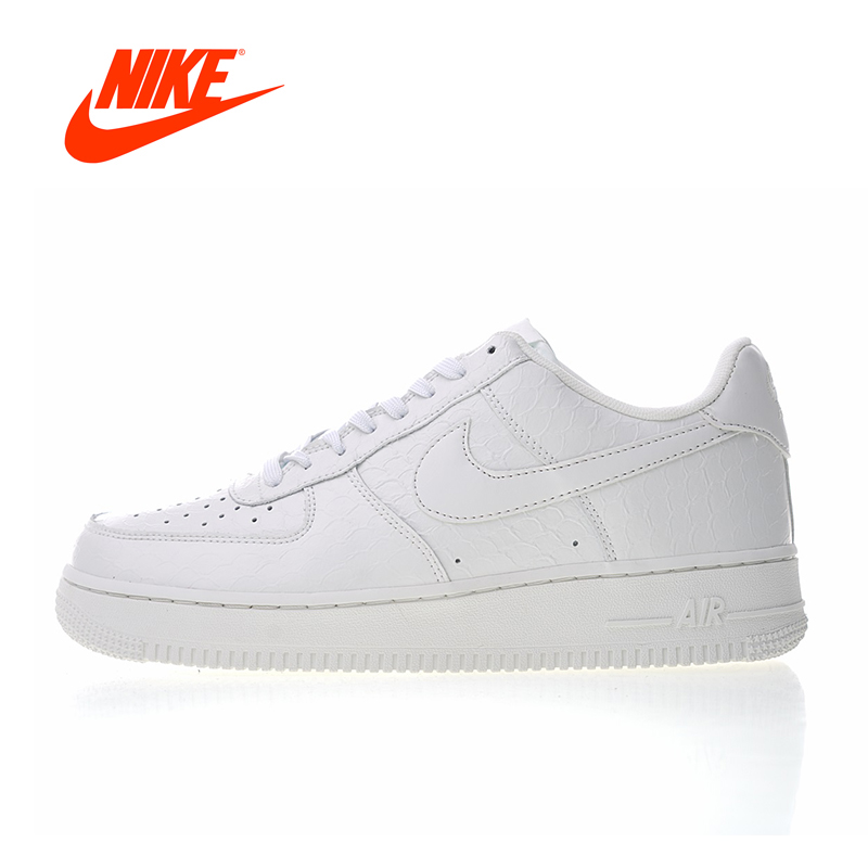 Original New Arrival Authentic Nike Air Force 1 07 LV8 White Croc Men's Skateboarding Shoes Sneakers Good Quality 718152-106