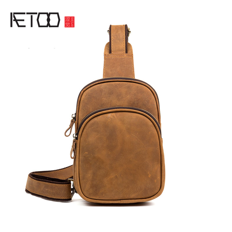 AETOO Retro first layer of leather chest pockets male hand frenzy skin chest bag leisure leather diagonal bag handbags qiaobao women general 100% leather handbags tide europe fashion first layer of cowhide women bag hand diagonal cross package