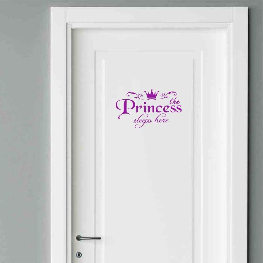 DIY Removable Princess Sleeps Here Wall Stickers Art Vinyl Door Decals Home  Baby Girls Kids Room Bedroom Dormitory Decor