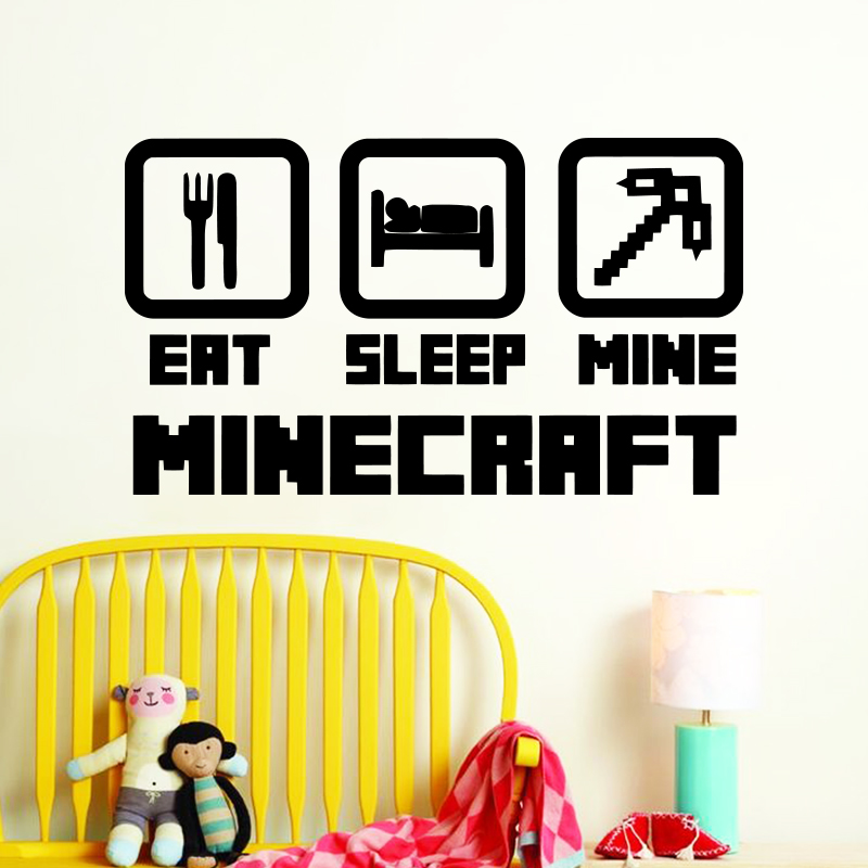 Art design goedkope woondecoratie vinyl populaire game muursticker verwijderbare PVC huisdecoratie cartoon Minecraft sticker in Netto bar