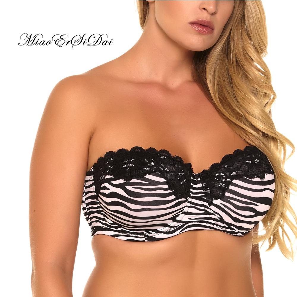68b52309e MiaoErSiDai Plus size Bra Removable Straps Push up Bralette Underwear for Women  36-44 C D DD DDD