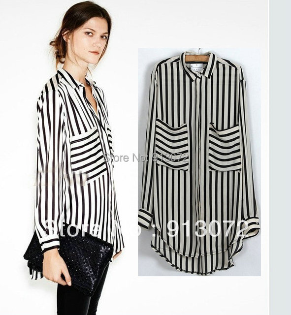 """St180 novas """" mulheres da moda OL clássico bege blusa listrada preto elegante qualidade casual soltos shirt grandes bolsos tops marca blusa"""