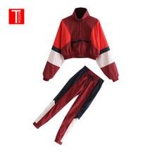 Комплект женский Винтаж красный контраст цвет Бейсбол бомбер пуловер куртка для женщин топы корректирующие и карандаш бег брюки для девоче