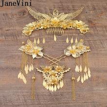 ee7f3faf5ebb JaneVini chino novia de la boda diadema de Metal tocado traje pendiente de  Boda nupcial peine de pelo Hairclips oro Celada