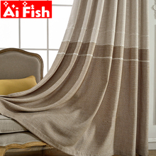 Grey Insulation Windows for Bedroom Coffee Jacquard Thick Faux Linen Curtains for Living Room Modern Curtains