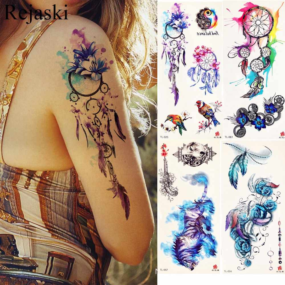 Watercolor Dream Catcher Temporary Tattoo Stickers Women Body Arm Art Painting Flash Tatto Girl Waist Feather Fake Tattoo Tribal