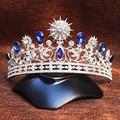Crystal Tiara Vintage Peacock Sun Bridal Hair Accessories Jewelry Wedding Headwear Silver Plated Rhinestone Queen Crown