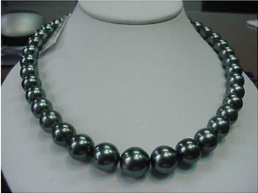 Free Shipping 003527 GENUINE Charming 11-12mm TAHITIAN black PEARL NECKLACE 17.5-1814KGP