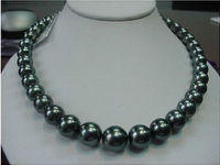 Free Shipping 003527 GENUINE Charming 11 12mm TAHITIAN black PEARL NECKLACE 17.5 1814KGP