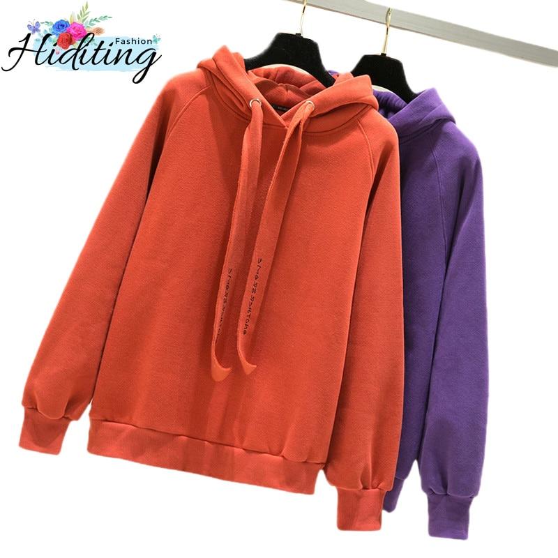 2019 New Women Hoodies Autumn Winter Thickening Plus Velvet Hoodies Fashion Warm Loose Hooded Tops Female Cotton Hoodies WIN95