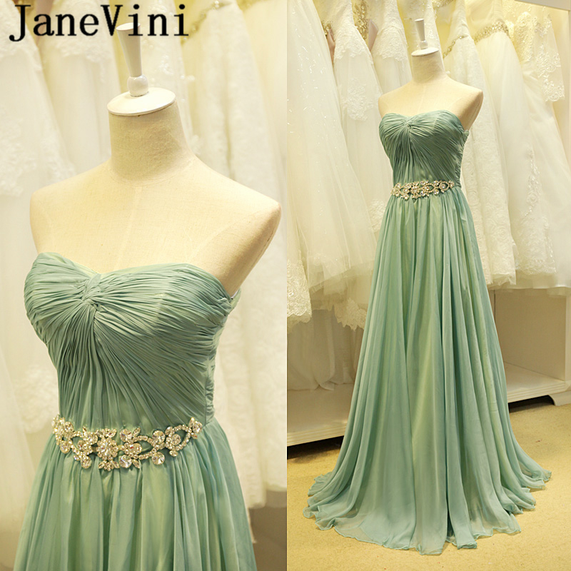 JaneVini Elegant Chiffon Crystal Long Bridesmaid Dresses 2018 Strapless Pleats A Line Backless Floor Length Maid Of Honor Gowns
