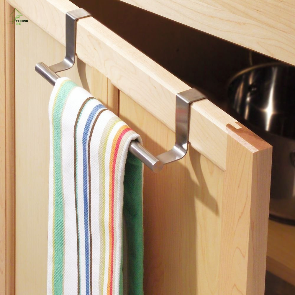 Stainless Steel Towel Bar Holder Over the Kitchen Cabinet ...