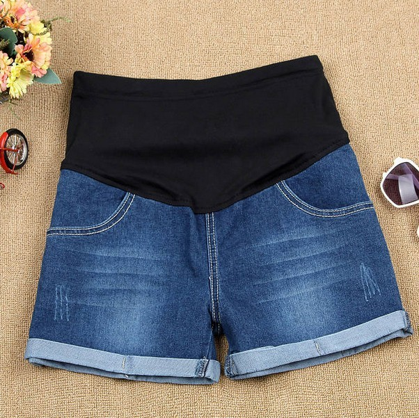 0be8c959b0d New Belly Denim Shorts For Pregnant Women All-Match Maternity Clothes  Summer Fashion Elastic Waist Curling Jeans Shorts Bermudas