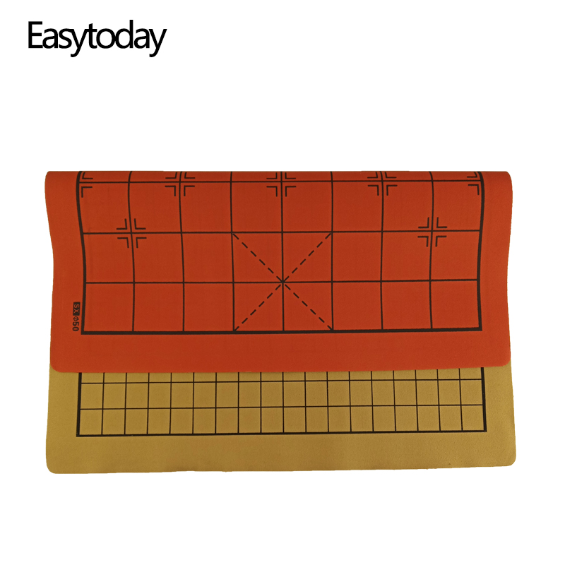 Easytoday Chinese Chessboard Synthetic Leather ChessBoard Two in one Board Softness Chess Cloth International Accessories