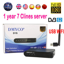 Digital tv satellite decoder D1S HD satellite receiver box DVB-S2 + usb WIFI Full 1080P 64M flash 1 year clines  Support Youtube