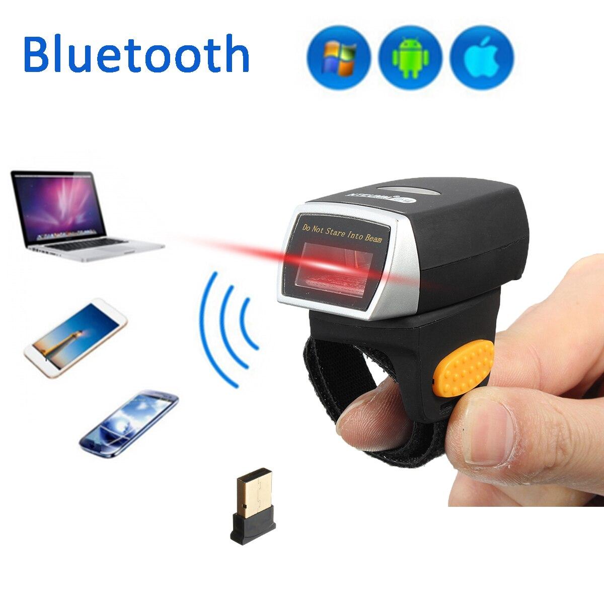 Mini Bluetooth сканер штрих-кода лазерной Weirless сканер носимых кольцо сканер штрих-кода 1D Reader Scan для телефона Планшетные ПК