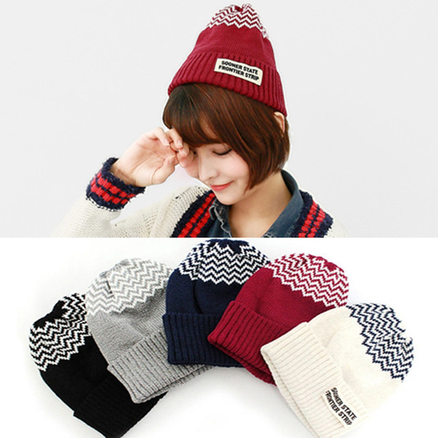 The new 2015 han edition affixed cloth wave cap hat hat tip to keep warm letter knitting hat qiu dong men and women