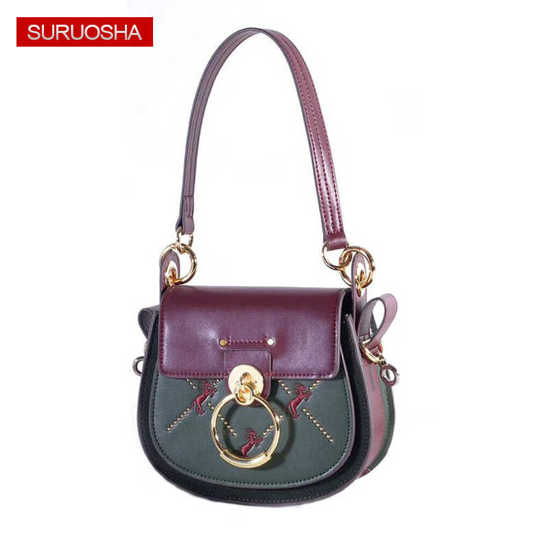 49003cc139ce Embroidery Horse Luxury Brand Genuine Leather Bags Saddle Brand Designer  Women Wine Red Leather Shoulder Bags