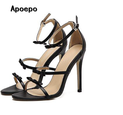 hot selling butterfly-knot high heel sandal 2017 sexy open toe ankle strap gladiator sandal woman fashion cutouts sandal hot selling black leather sandal high heel summer open toe chains decorations gladiator sandal woman cutouts thin heels shoes
