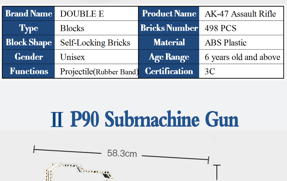 rubber band  gun  AK-47 Garand Rifle  Gun military bricks weapon set can fire building blocks toy for children gift 74